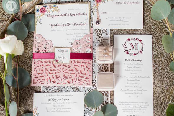 Blush Diecut Floral Invitation