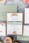 Sunflower & Twine Wrapped Wedding Invitation