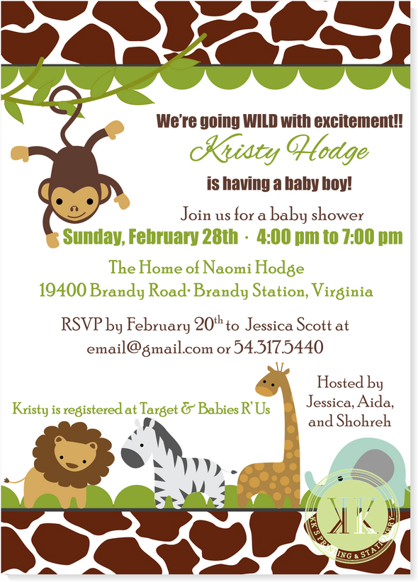 Baby Zoo Animals Baby Shower Invitation