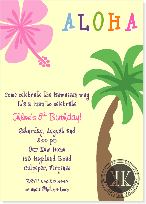 Aloha! Hawaiian Birthday Invitation
