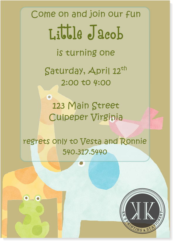 Baby Animal Birthday Invitation