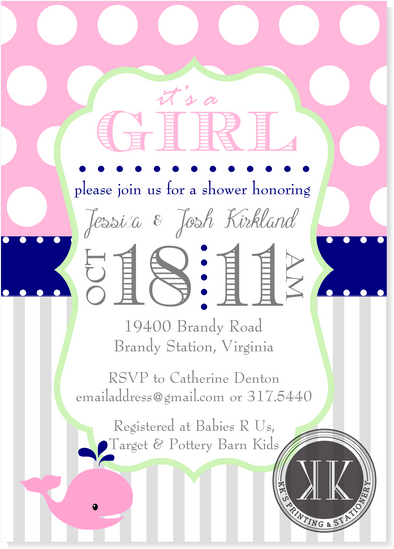 Baby Whale Shower Invitation