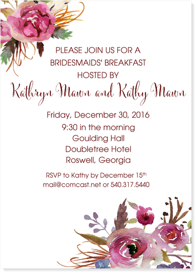 Boho Floral Burgundy Bridal Shower Invitation