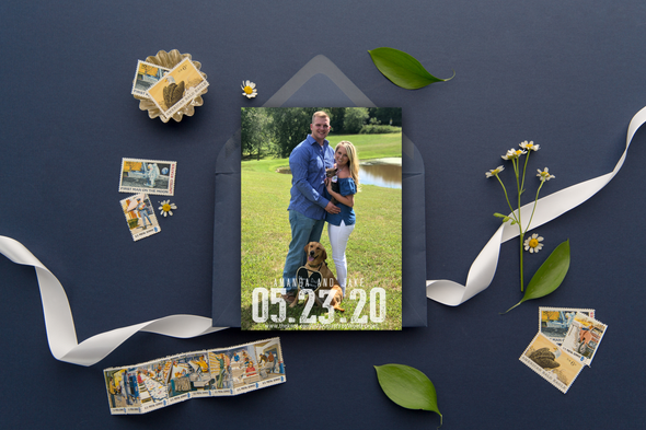 Two Puppy Love Save The Date Magnet