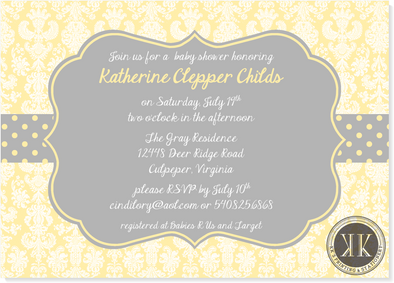 Yellow and Gray Baby Shower Invitation