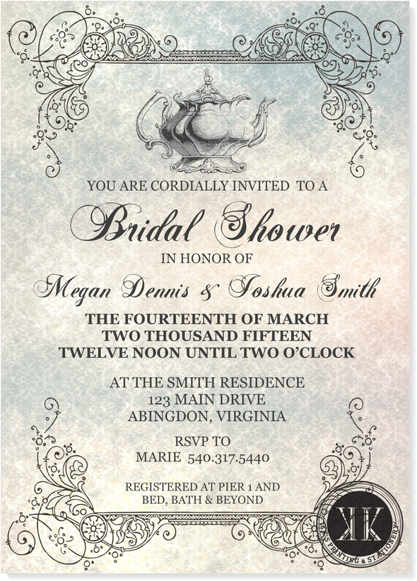 Tea Time Bridal Shower Invitation