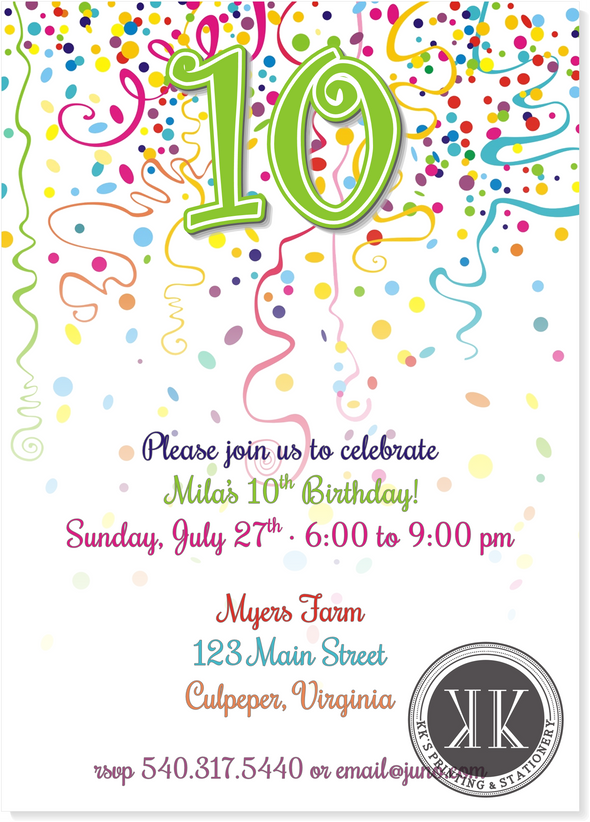 Confetti Birthday Invitation