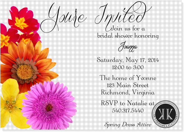 Spring Flowers Bridal Shower Invitation