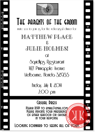 Movie Rehearsal Dinner Invitation