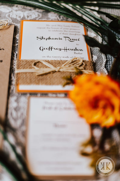 Burlap and Twine Wrapped Invitation