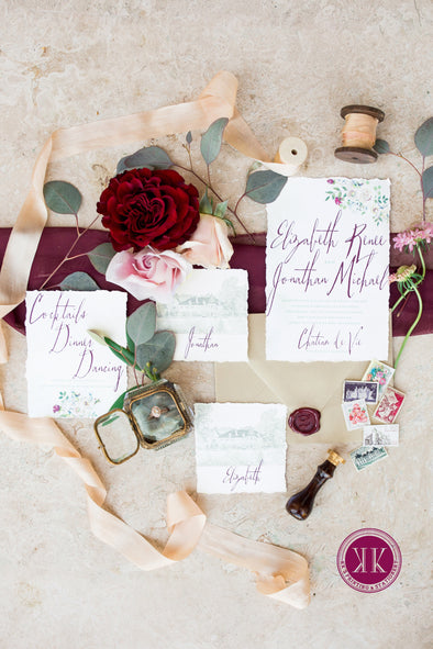 French Floral Watercolor Invitation