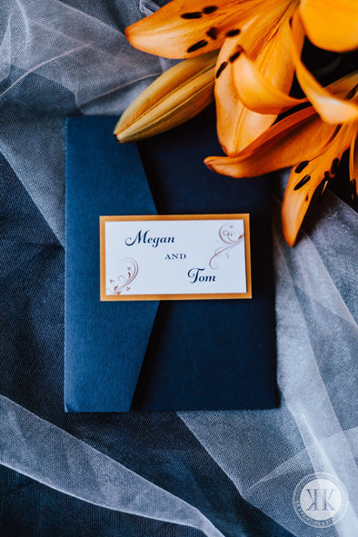 Navy and Orange Pocket Invitation Suite