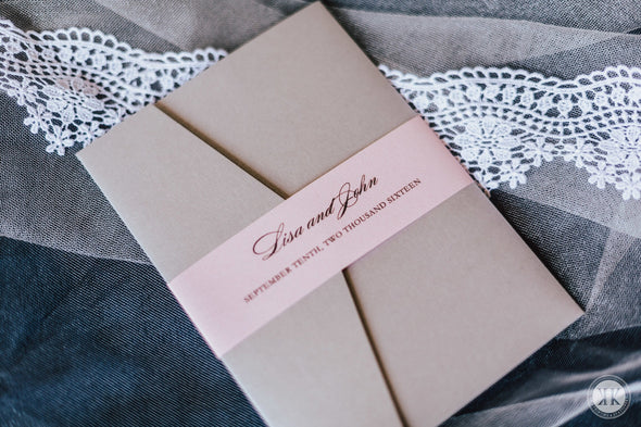 Silver and Pink Pocket Invitation Suite