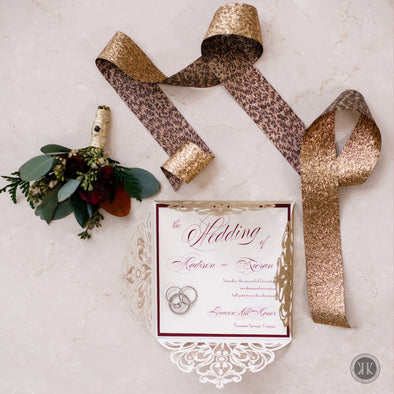 Gold Glitter and Burgundy Diecut Invitation Suite