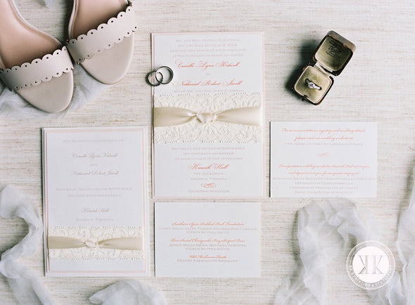 Lace and Ribbon Wrapped Wedding Invitation