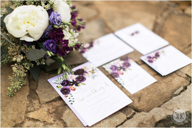 Purple Boho Floral Invitation Suite