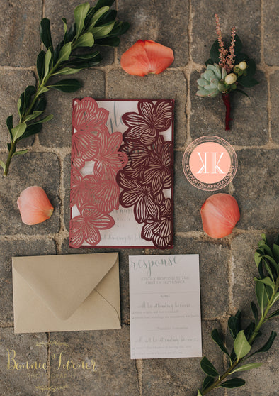 Burgundy and Gold Floral Diecut Wedding Invitation