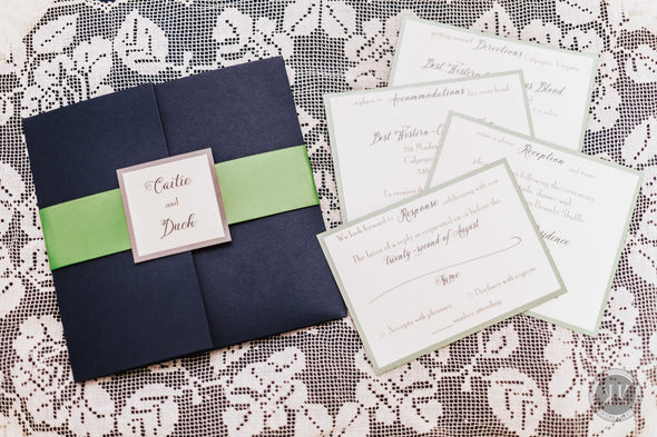 Navy and Green Rhinestone Pocket Invitation Suite