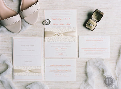 Elegant Lace and Ribbon Wrapped Invitation