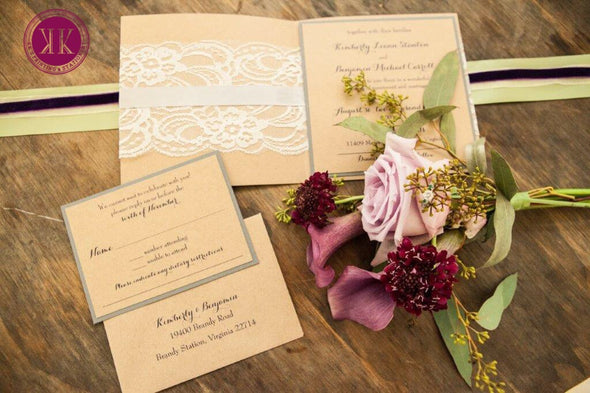 Lace Wrapped Kraft Pocket Invitation Suite