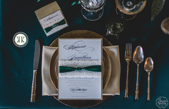 Lace and Green Ribbon Wrapped Wedding Invitation