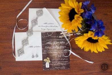 Sunflower Woodgrain Invitation