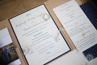 Navy - Kraft - Lace Pocket Wedding Invitation Suite