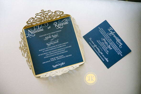 Elegant Gold Diecut Wedding Invitation