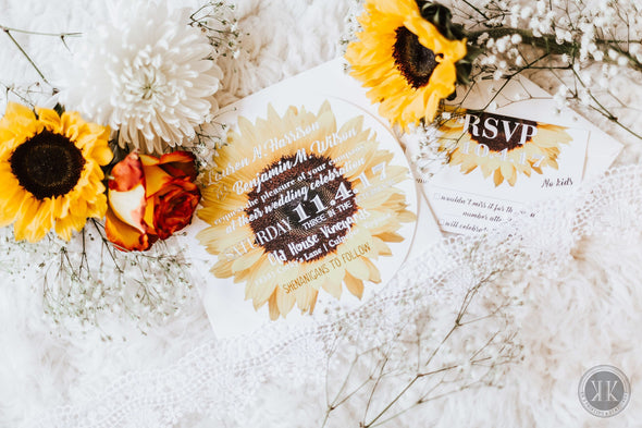 Circle Sunflower Invitation Suite