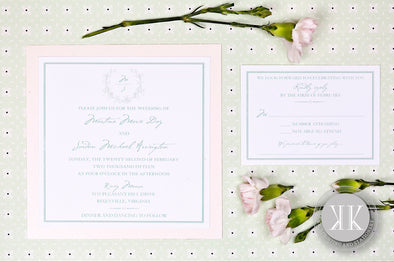 Wreath Bordered Wedding Invitation