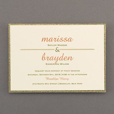 Savvy Wedding Invitation Suite Smooth Gold Edge