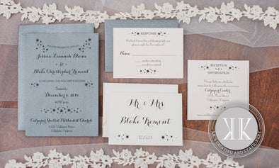 Metallic Gray + Metallic Coral Star Wedding Invitation
