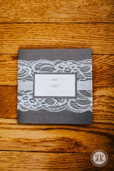 Gray and Blush Lace Ribbon Wrapped Invitation Suite