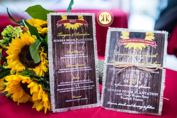Wood + Sunflower Wedding Invitation