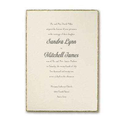 Savvy Wedding Invitation Suite Deckled Gold Edge