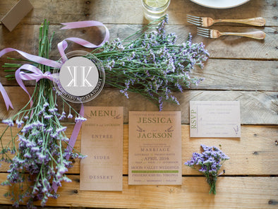 Kraft flowers wedding invitation