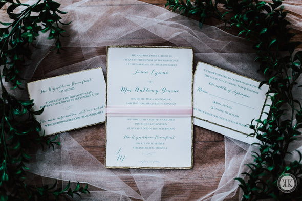 Deckled Gold Edge Invitation Suite