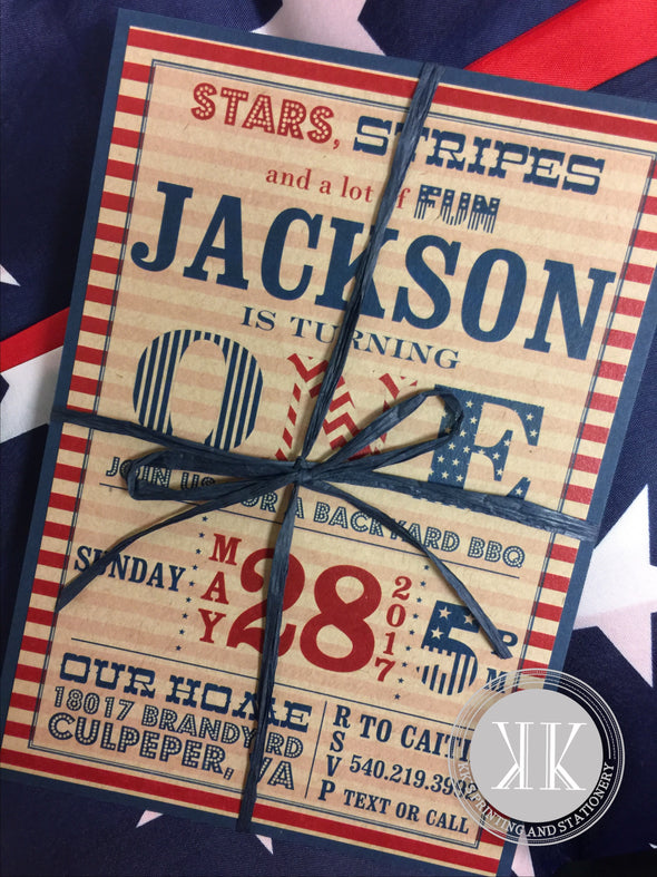 Red, white blue Invitation