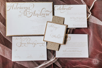 Gold Glitter Layered Invitation