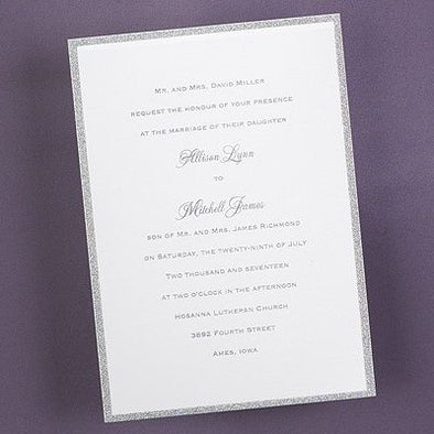 Savvy Wedding Invitation Suite Silver Glitter
