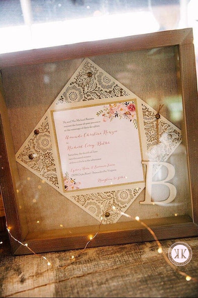 Boho Floral Diecut Gold Glitter Wedding Invitation