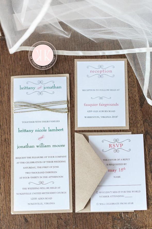 Twine wrapped wedding invitation
