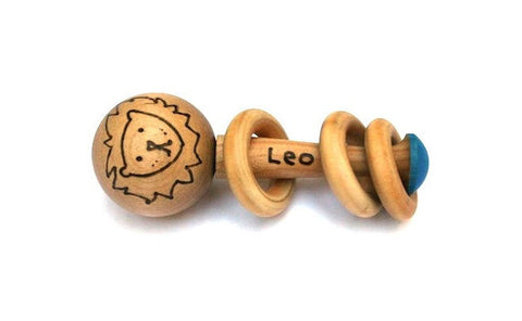 Wooden Baby Rattle Lion