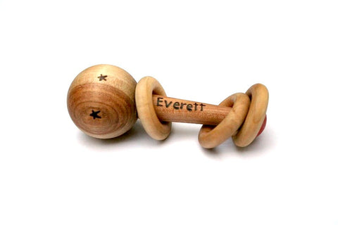 Personalized wooden baby rattle