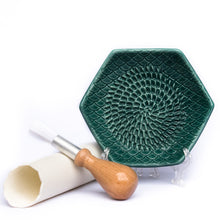 The Grate Plate Handmade Ceramic Grater (Includes Garlic Peeler & Brush)