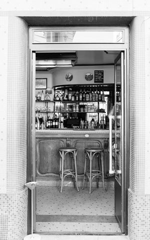 Black and White Paris Café on the Right Bank