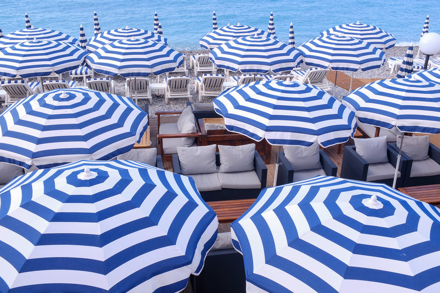 Blue and White Striped Umbrellas Nice France