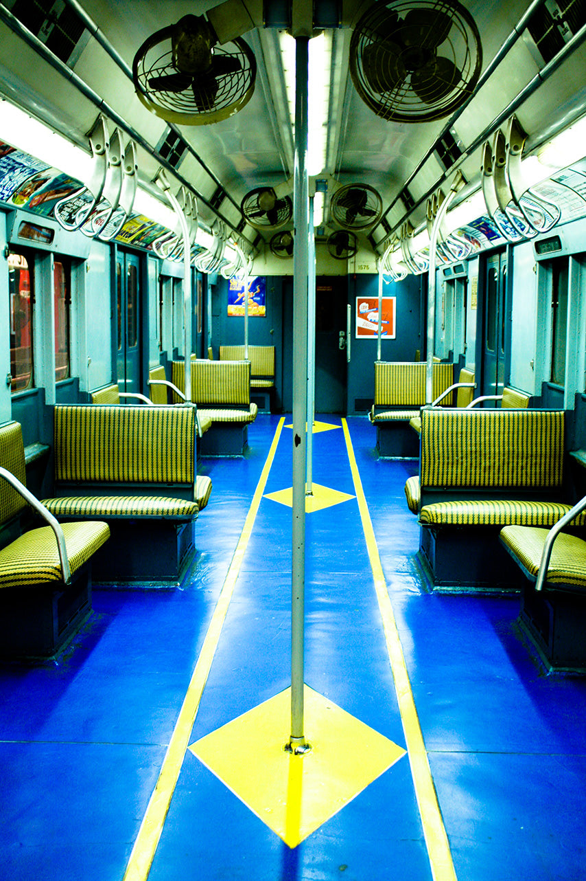 NYC Blue Vintage Subway Train