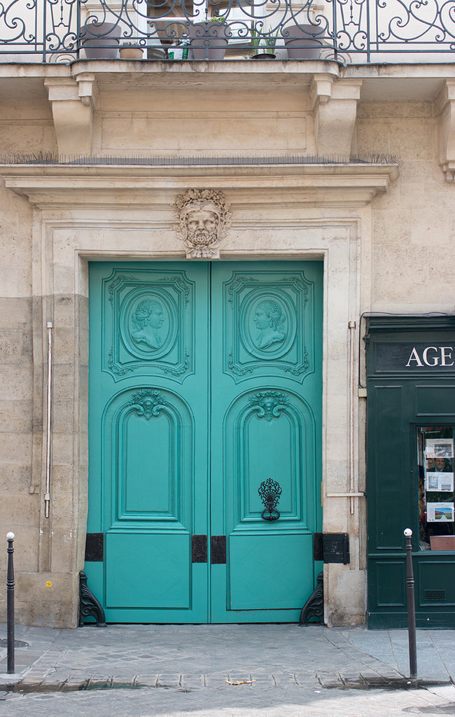Mint Green Door in The Marais