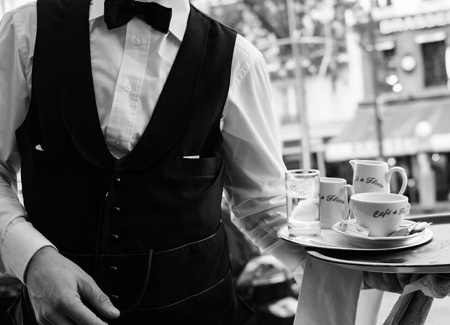 Black and White Café de Flore Waiter - Every Day Paris